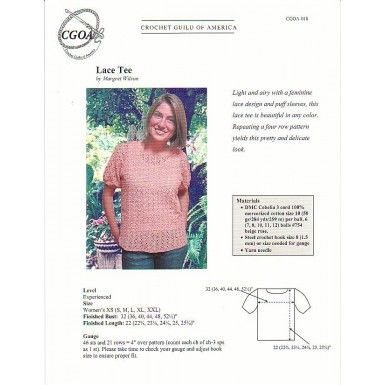 Crochet Guild Of America : Lace Tee Pattern from the Crochet Guild of America GCOA-018