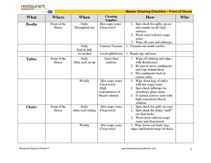 restaurant schedules templates