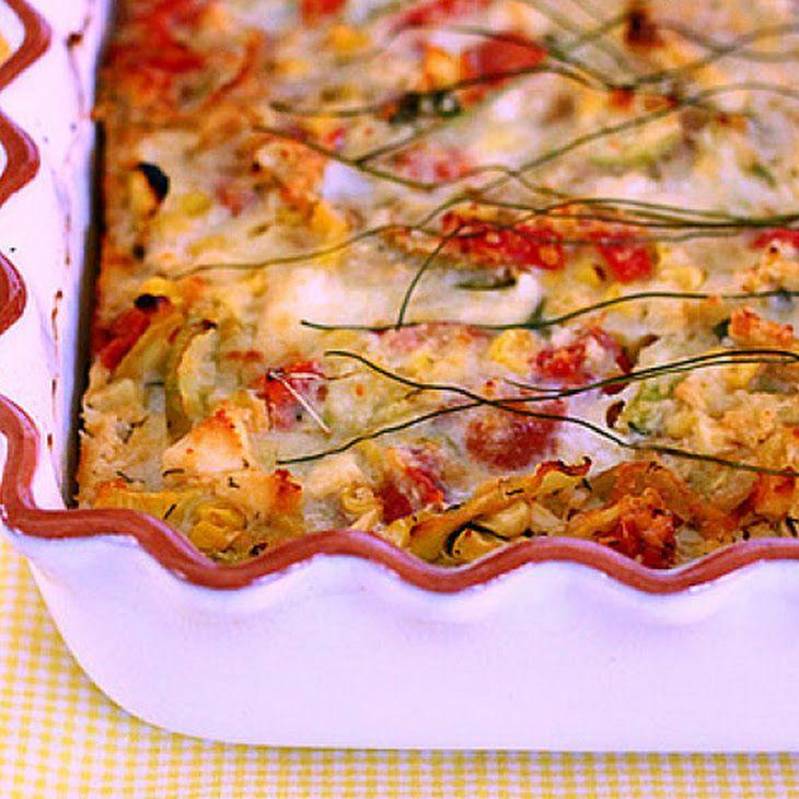 Crustless Zucchini, Corn and Tomato Quiche with Feta Recipe