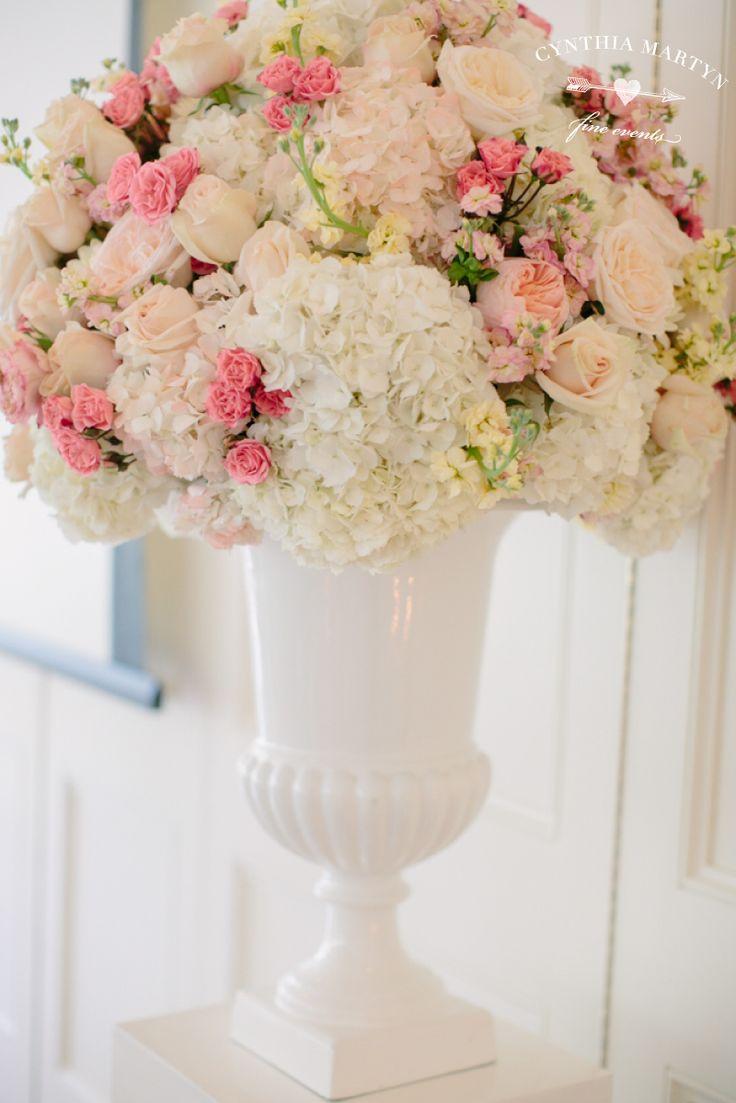 Light pink wedding centerpieces white