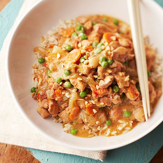 Hot and Spicy Braised Peanut Chicken- in the slow cooker!