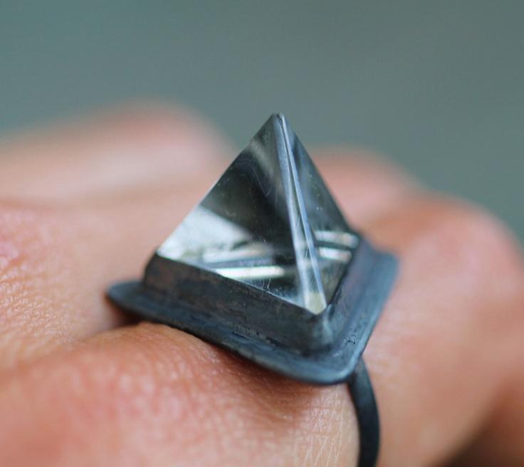 Quartz Tetrahedron Ring