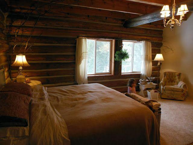 Romantic log cabin bedroom log cabin pinterest for Pictures of cabin bedrooms