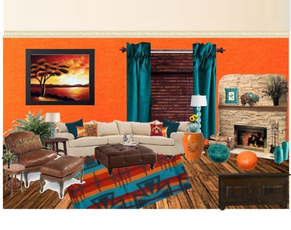 orange and teal living room.  Orange and teal living room with orange wall created by melicorbett Teal And Living Room Decor Modern House