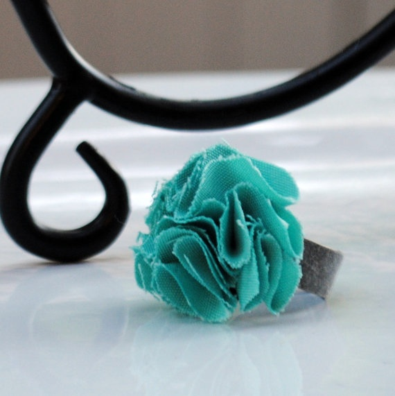 turquoise flower pom pom cocktail ring | My Style | Pinterest