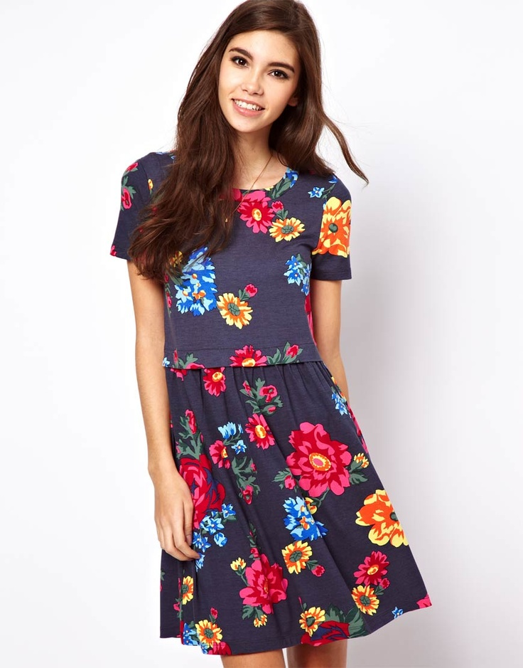 Floral denim effect jersey dress