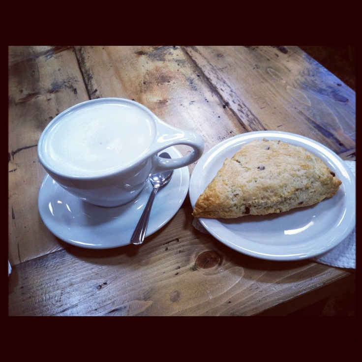 Coconut tea and an almond chocolate chip scone💗
