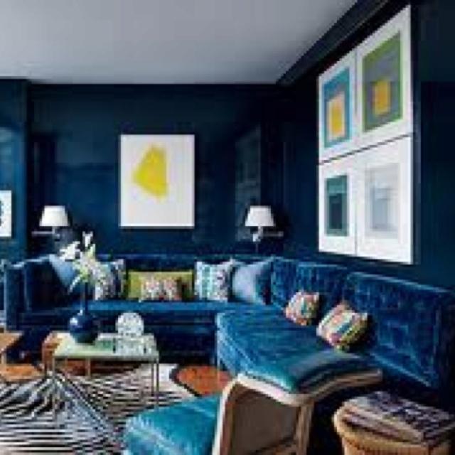 Blue velvet sofa new living room pinterest
