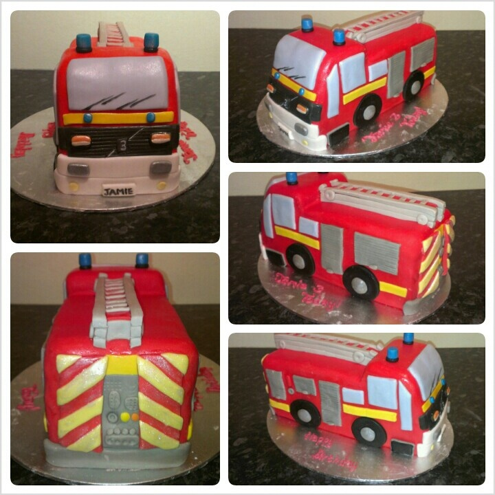 how to make a fire truck birthday cake