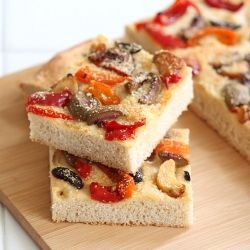Focaccia with Roasted Garlic, Pickle Peppers and Olives