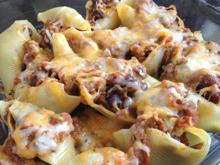 Taco stuffed shells--Mexican and Italian fusion at it's best!