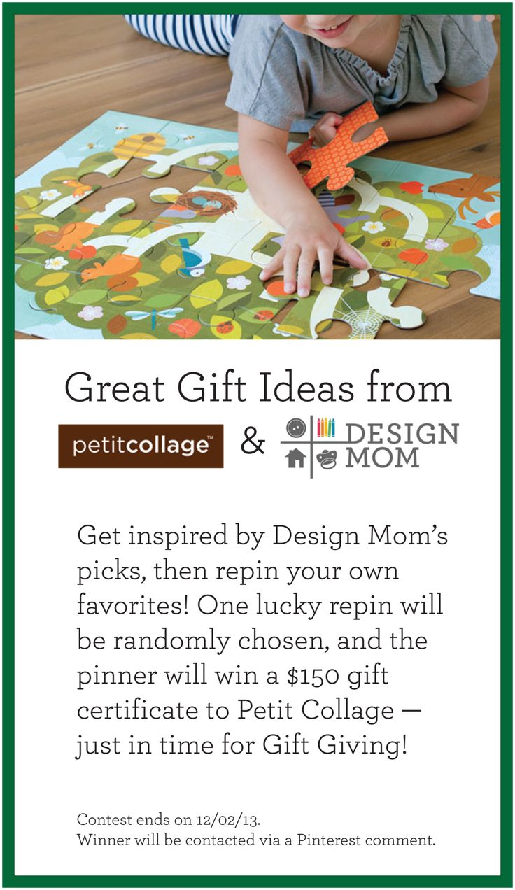 Get inspired by Design Mom's favorite products from @Petit Collage! Pin your own favorites and you could win. One of the repins will be randomly picked, and the winner will receive a $150 gift certificate to Petit Collage. Just in time for holiday gift giving — hooray! You can repin until 12/02/13. The winner will be contacted via Pinterest comment. See Design Mom's Favorites here: http://www.pinterest.com/petitcollage/design-moms-petit-collage-favorites/
