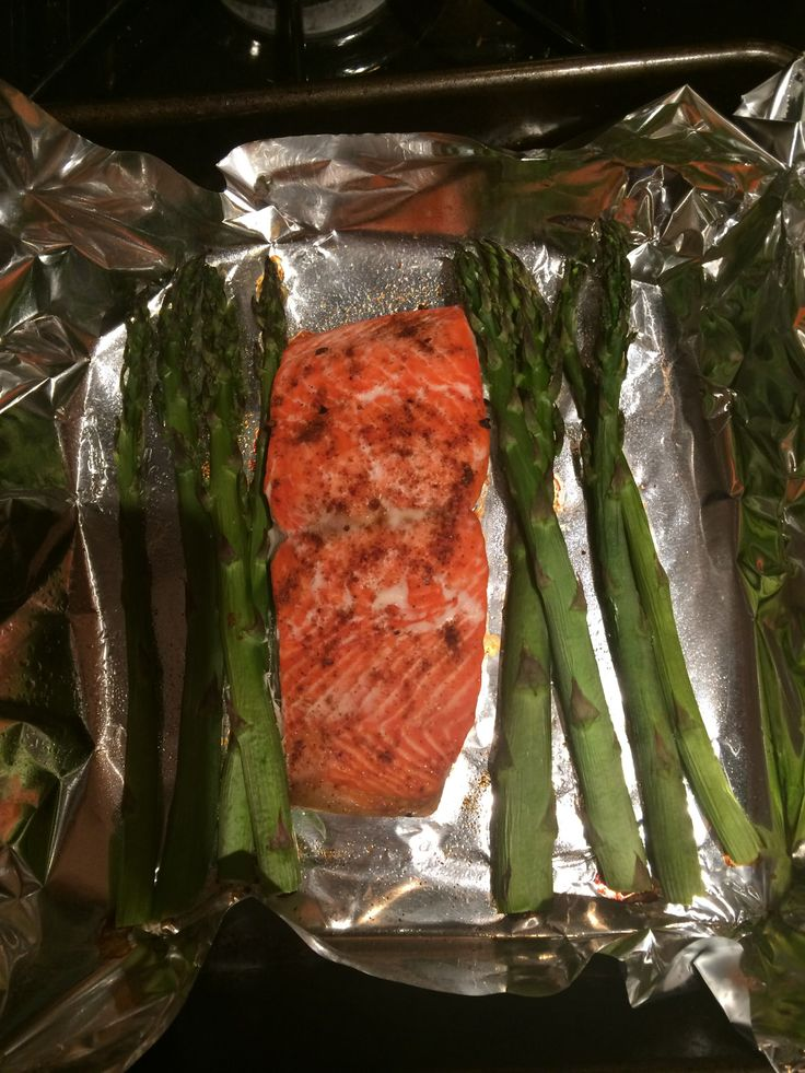 baked salmon and asparagus! Recipe 1) season a filet of wild salmon ...