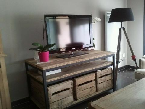 Etagere caisse pomme tagre chaussures en bois shabby chic boisseau de boite caisse pomme - Meuble tv caisse bois ...