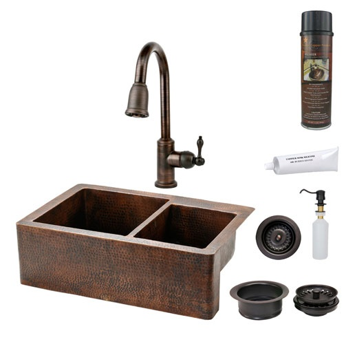 33 Inch Hammered Copper Apron 60 40 Double Bowl Kitchen Sink with Pull