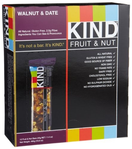 KIND Fruit & Nut, Walnut & Date, All Natural, Gluten Free Bars (Pack ...