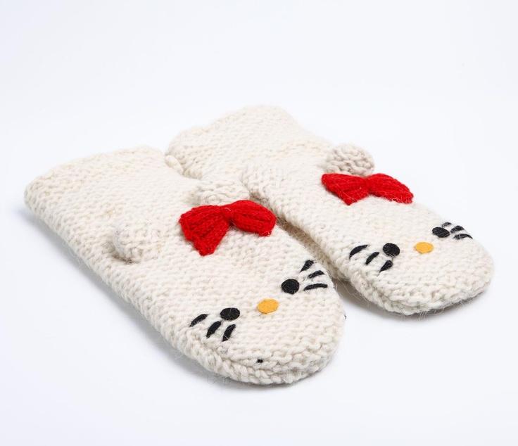 Hello Kitty Mittens Knitting Pattern : Hello Kitty Knit Mittens: White