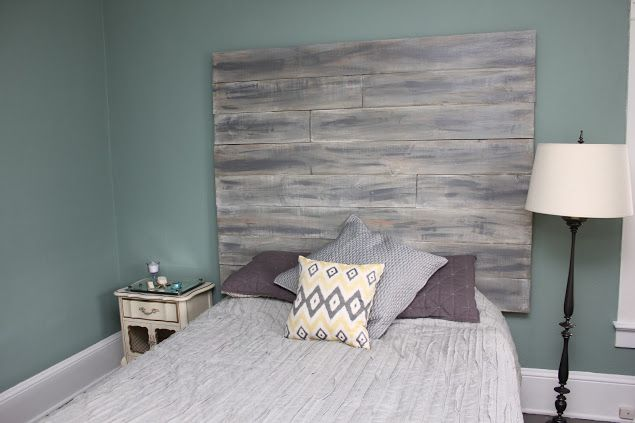 Whitewashed wood headboard House