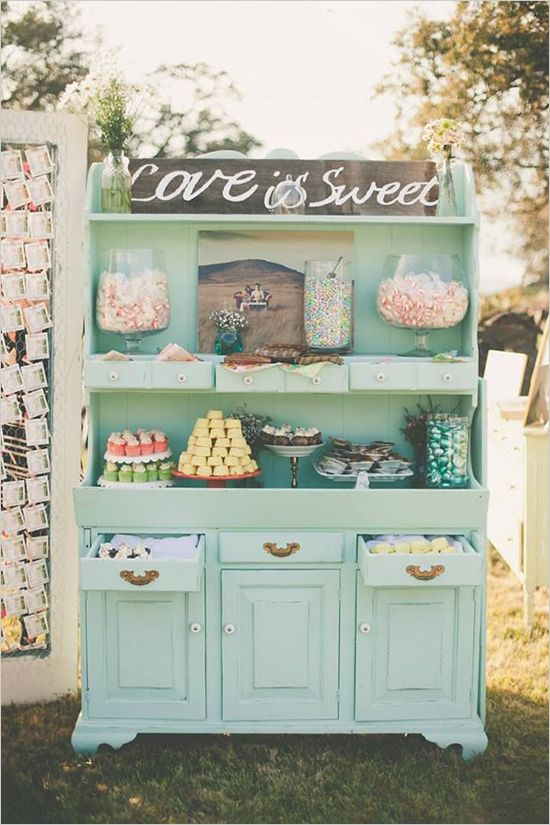 love is sweet dessert table http://www.weddingchicks.com/2013/09/11/vintage-diy-wedding-3/