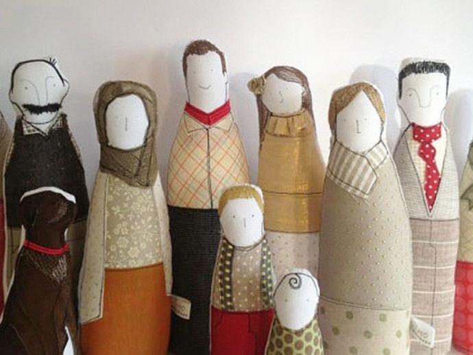killer holiday gift: handmade personalized family portrait dolls