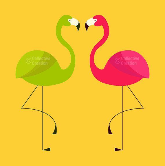 Pink Flamingo Clip Art Flamingo digital clip art clipart set par ...