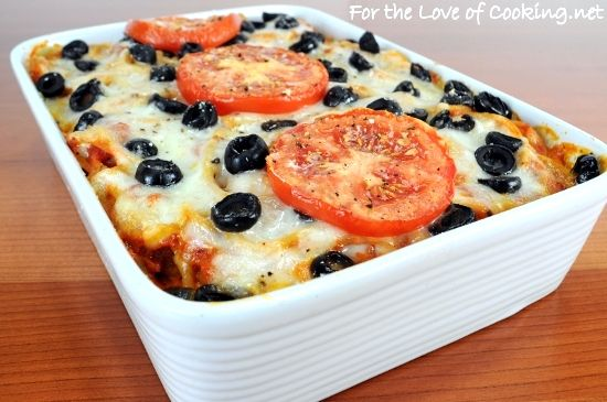 BAKED SPAGHETTI WITH RICOTTA - made this tonight without the olives ...