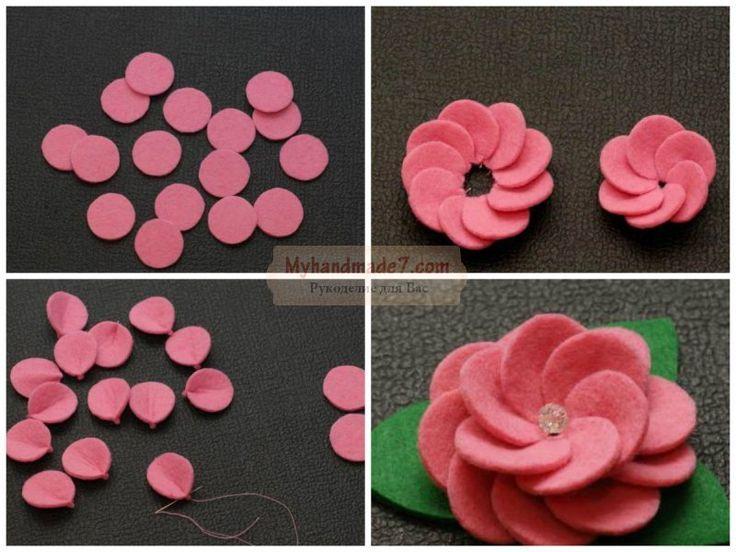 Как сделать из цветы из фетра своими руками 800