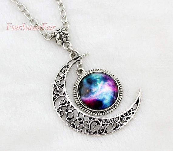 ... Necklace, Moon necklace ,Charm necklace,Silver hollow star galactic