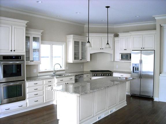 White kitchen gray counters beach house kitchen pinterest for White kitchen dark floors