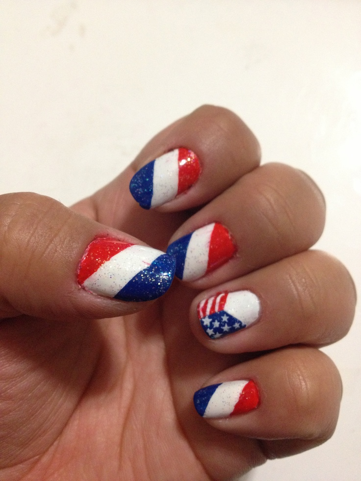 Red, White, and Blue Nail Art | nails | Pinterest