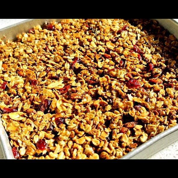 Peanut Butter Cranberry Almond Granola Bars ready to be cut!