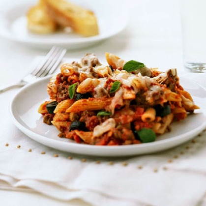 Penne with Meat Sauce | meaty meals | Pinterest