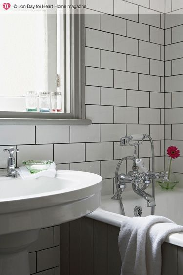 White subway tile with black grout bathroom pinterest for White subway tile with black grout bathroom