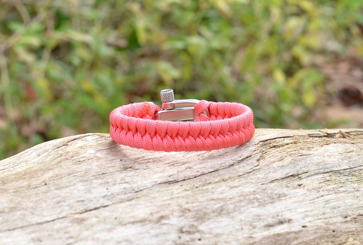 Happy Valentine's Day! We added Coral to our colors! This is the Light Duty Fish Tail Bracelet with the Adjustable Stainless Steel Shackle $34.90 www.survivalstraps.com