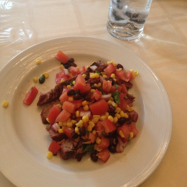 Skinny taste grilled flank steak with black bean, corn and tomato ...