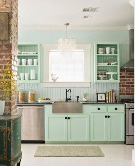 Sea foam green kitchen cabinets and wall