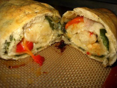 Pizza Stromboli with Spinach, Mushrooms, and Cheese - This would be ...