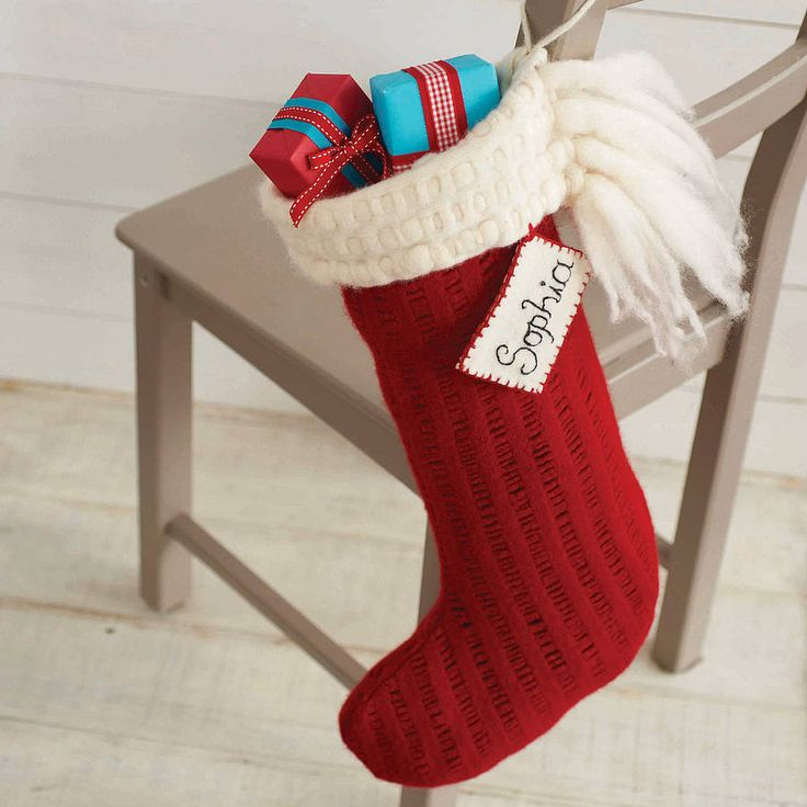 Knitting Pattern For Xmas Stocking : Personalised Knitted Christmas Stocking