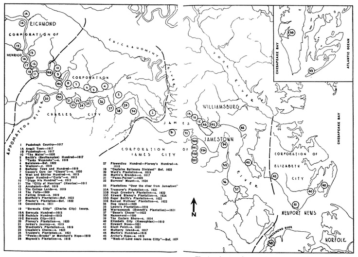 Towns, Plantations, Settlements and Communities in Virginia: 1607-1624. (The sites of Richmond, Williamsburg and Norfolk are shown but the cities did not exist at the time