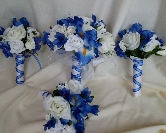 Silk Bridal Bouquet Royal Blue Wedding By BudgetWeddingBouquet