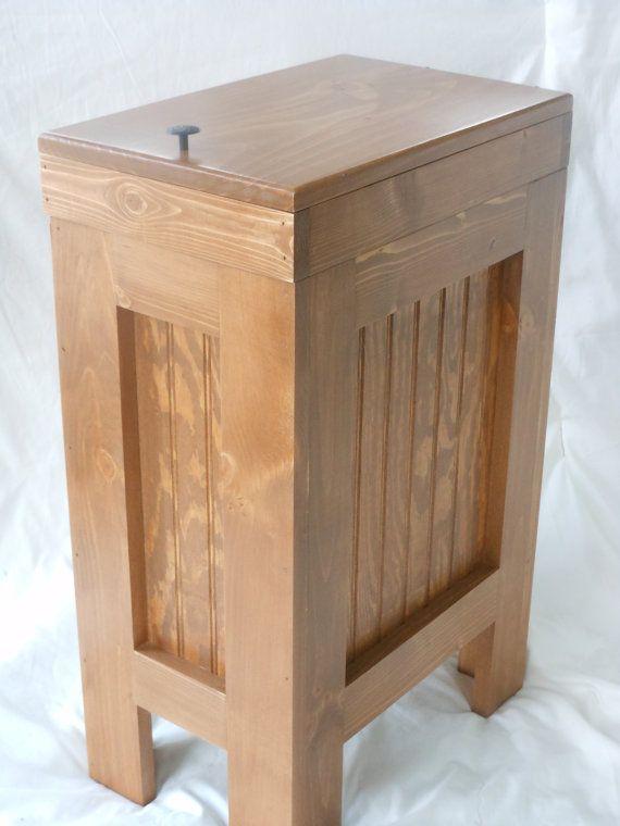 Wood Wooden Kitchen Garbage Can Trash Bin Wastebasket Colonial Pine S