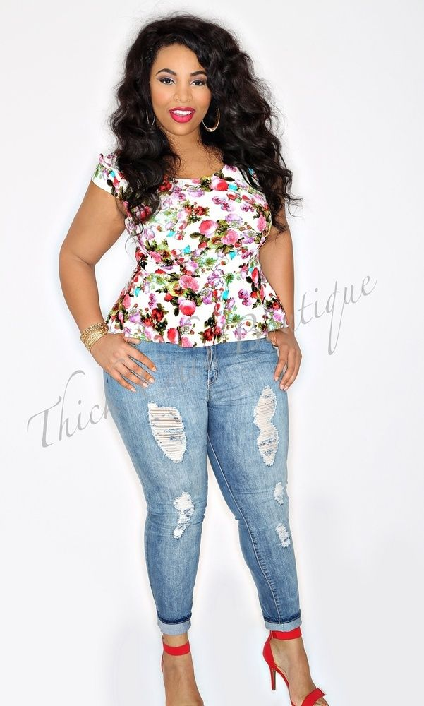 Floral Peplum Top, Ripped Skinny Jeans, #curvy #thick if you follow
