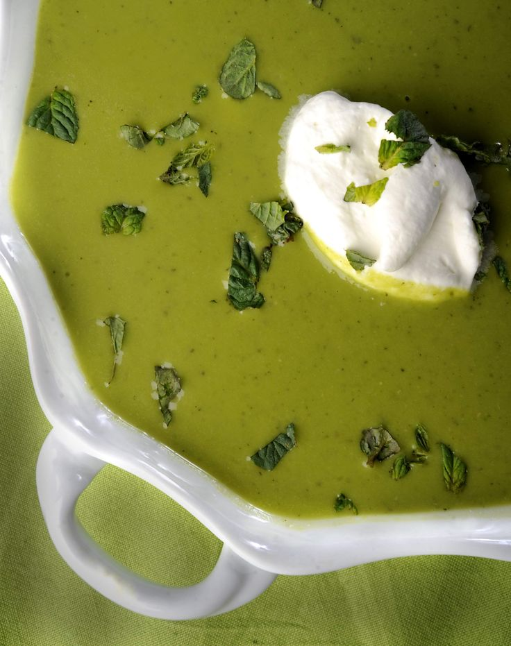 Pea and mint soup with lemon cream -- what a springy soup!