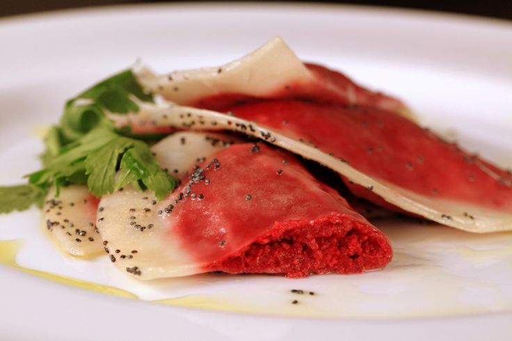 Beet Ravioli with Poppy Seed Butter | delectable food | Pinterest