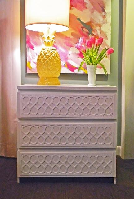 Overlays on a dresser, delightful. Plus I love this pineapple lamp!