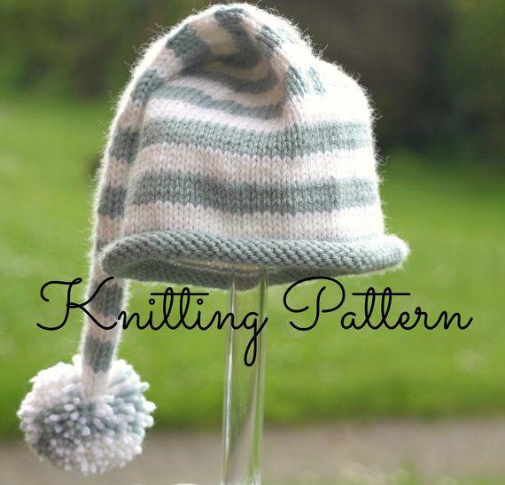 Knitting Pattern Baby Hat Double Knitting : Knitting Pattern - Stripey Baby Stocking Hat - Double knitting/sport
