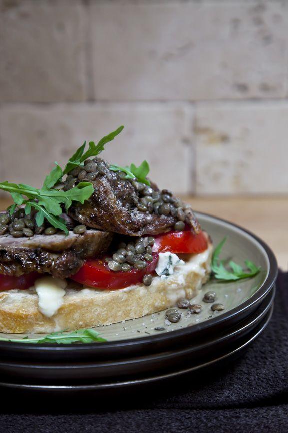 ... – Warm Lentil Vinaigrette, Roquefort and Late Summer Tomatoes