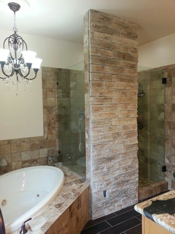 Stacked stone accent wall bathroom beauties pinterest for Stone accents