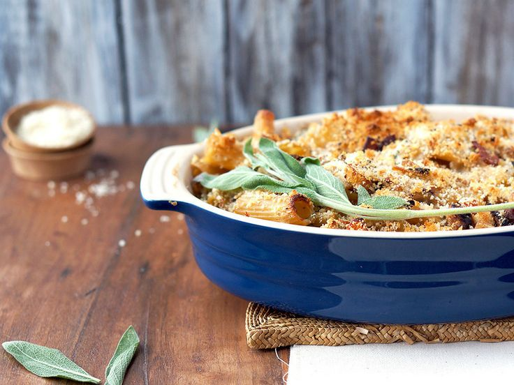 creamy baked rigatoni with butternut squash & goat cheese