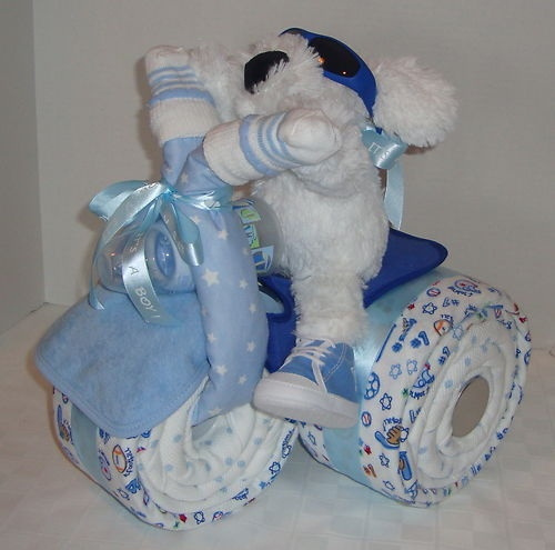 diaper trike motorcycle baby shower gift this is so clever